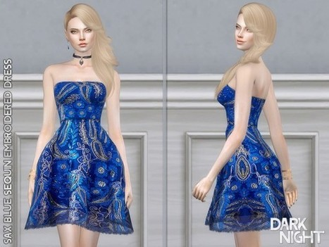 de5f7533b0 The Sims Resource  Sax Blue Sequin Embroidered Dress by DarkNighTt