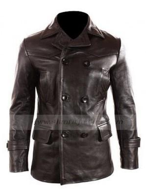 22392e5249b German Naval Pea Leather Coat