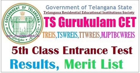 TGCET Results 2017 TS Gurukulam 5th Class Entra