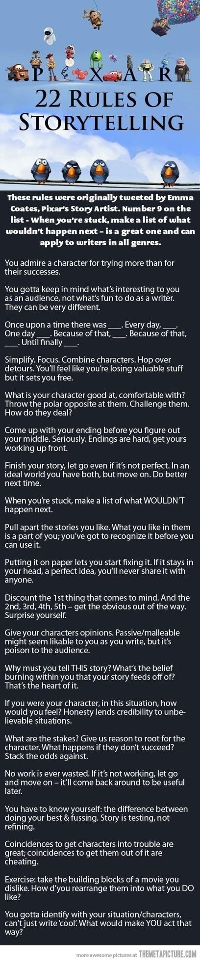 Pixar's  22 Rules Of Storytelling by Emma Coates,Pixar's Story Artist | Storytelling Content Transmedia | Scoop.it