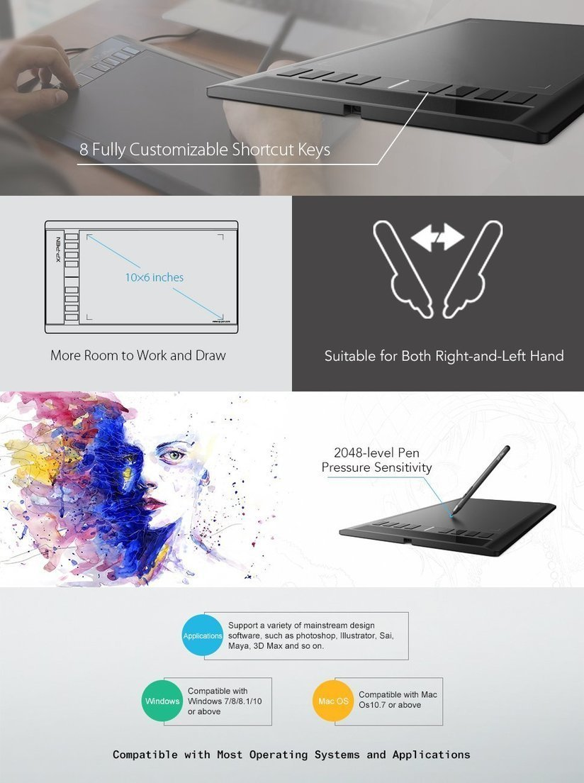 Xp Pen Star03 Drawing Tablet 12 Inch With 8 Hot