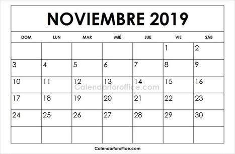 Calendario Noviembre 2019.Calendario 2019 Noviembre Calendario 2019 En