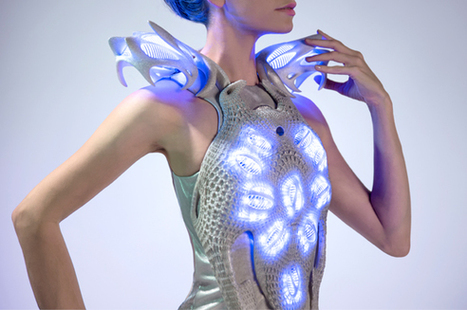 """The """"Synapse Dress"""": Intuitive 3D printed wearable body response dress by Anouk Wipprecht 