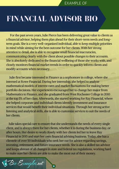 financial advisor bio example biography sampl