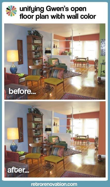 Open floor plans and how to unify them with paint colors — Retro ... | Vintage Kitchens | Scoop.it