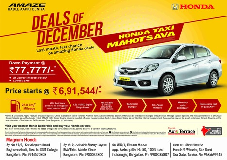 Authorized Honda Cars Dealer Showroom In Bangalore Magnum Zoom Into The New Year With Your Dream Car
