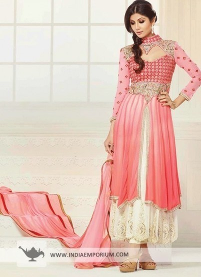 Pink & Ivory Tantalizing Georgette Anarkali Suit - Salwar Kameez - Women | I don't do fashion, I am fashion | Scoop.it