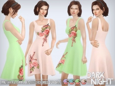 5540582189 The Sims Resource  Mesh Floral Embroidered Prom by DarkNighTt