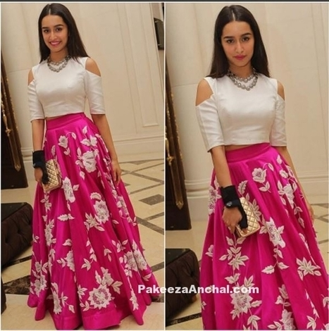 0ddc2ae77efcc5 Shraddha Kapoor in White Cut-out Crop Top and Pink Floral Lehenga