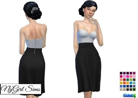 4b982c9055c NY Girl Sims  Strapless White Midi Dress with Colored Skirt