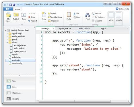 NodeJS et Windows : mailleure intégration avec WebMatrix | Node.js | Scoop.it