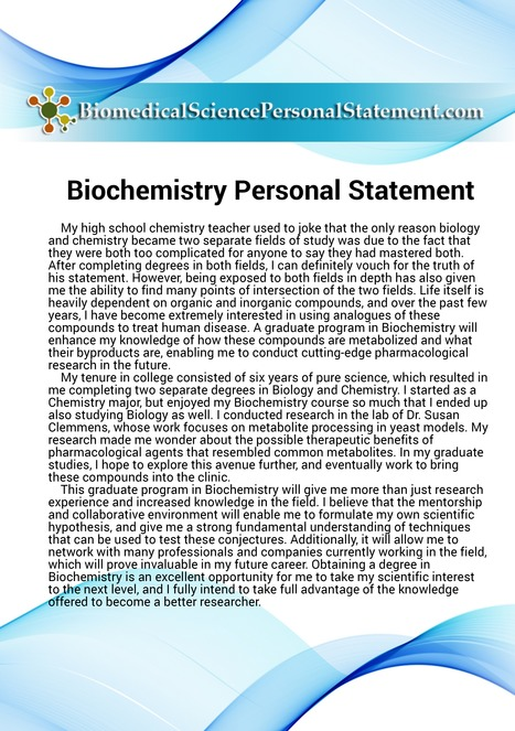 biochemistry personal statement sample