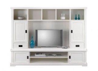 Schrankwand SOFIA Weiß H163cm Massivholz TV Schrank | Dekoration Landhaus |  Online Kaufen