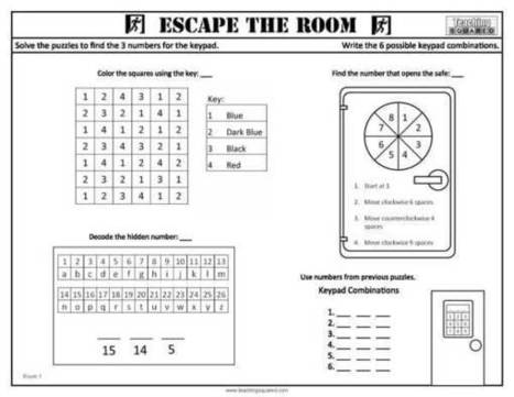 Escape The Room Worksheets Coloring Squared