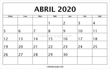 Calendario Mes De Enero 2020.Calendario Abril 2020 Calendario Mensual 2020
