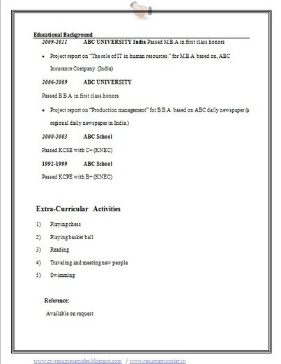 Over 10000 CV And Resume Samples With Free Download: BBA Resume Example