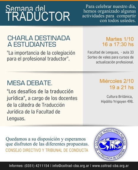 Charlas por la semana del Traductor en Córdoba, Argentina | Translation and Localization [EN-ES] | Scoop.it