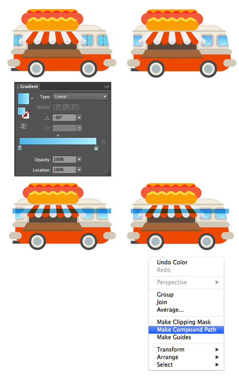 Create A Colorful Cartoon Hot Dog Van In Adobe