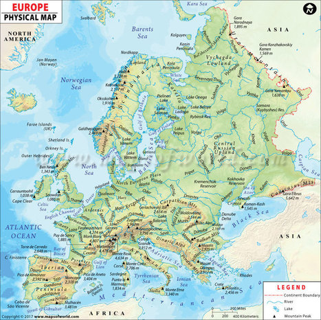 Europe Physical Map | Physical Map of Europe | ...