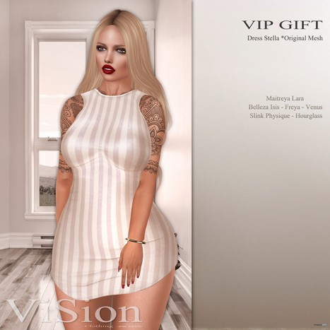Stella Dress January 2017 Group Gift by ViSion S&F | Teleport Hub - Second Life Freebies | Second Life Freebies | Scoop.it