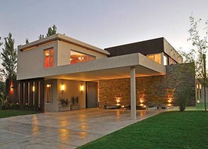 Contemporary Elevation In Beige With Wall Cladd