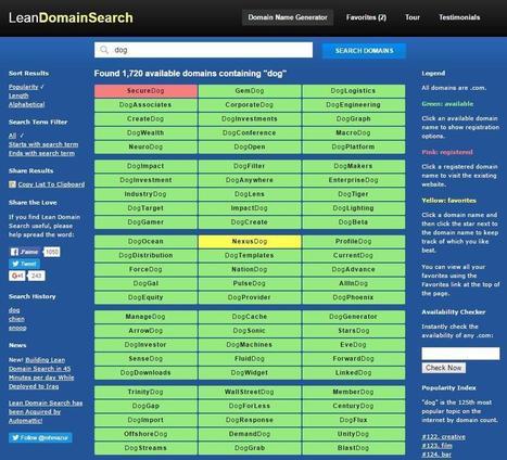 Trouver un bon nom de domaine, Lean Domain Search | Informatique TPE | Scoop.it