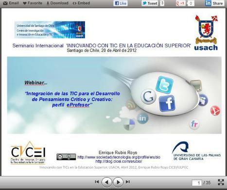 Integración de las TICs para el desarrollo del pensamiento crítico y creativo, en la educación superior. | Sinapsisele 3.0 | Scoop.it