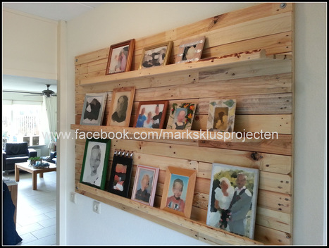 Photo wall made of recycled pallet wood | 1001 ...
