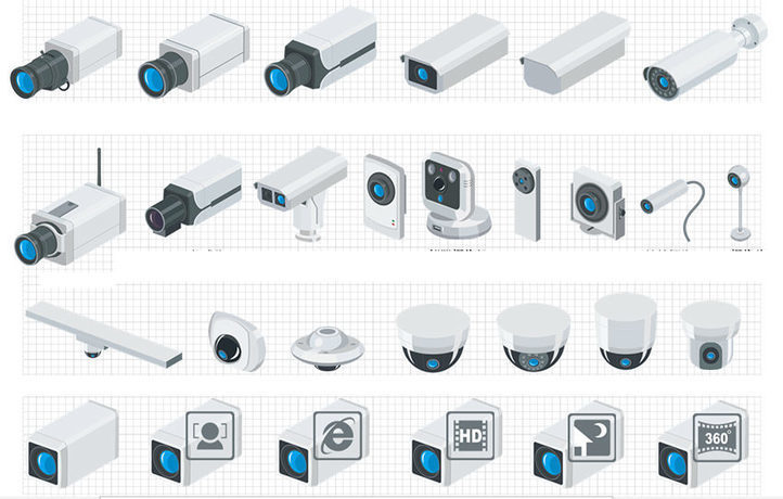 Ip Network Video Surveillance Visio Icon Librar