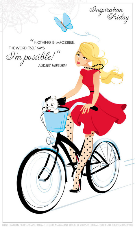 feminine illustration of stylish woman on bycicle : Illustrations and Inspirations | Bicicletas | Scoop.it