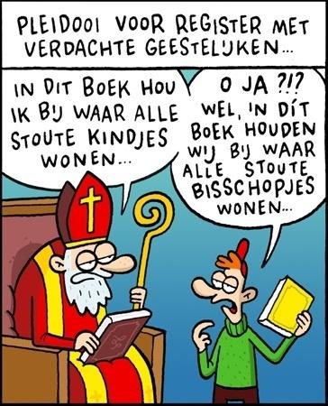 Cartoon over zwarte lijst van verdachte geestelijken en het boek van sinterklaas. | Sinterklaasfeest, feest met Sint Nicolaas, Zwarte Piet en goochelaar in voorprogramma | Scoop.it