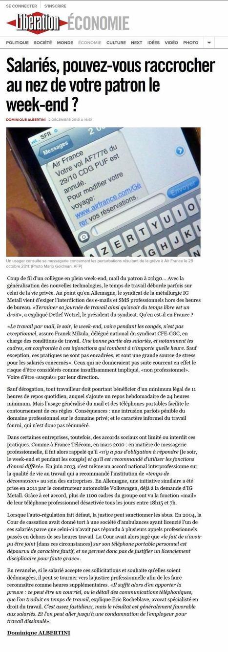 Libération : «Salariés, pouvez-vous raccrocher au nez de votre patron le week-end ?» Interview de Maître Eric ROCHEBLAVE | innovation & management | Scoop.it