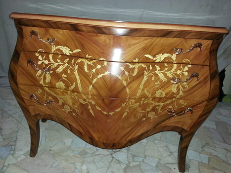 Reproduction Antique Marquetry Bombe Chest   Classic French Furniture    Italian Interior Designs   Scoop.