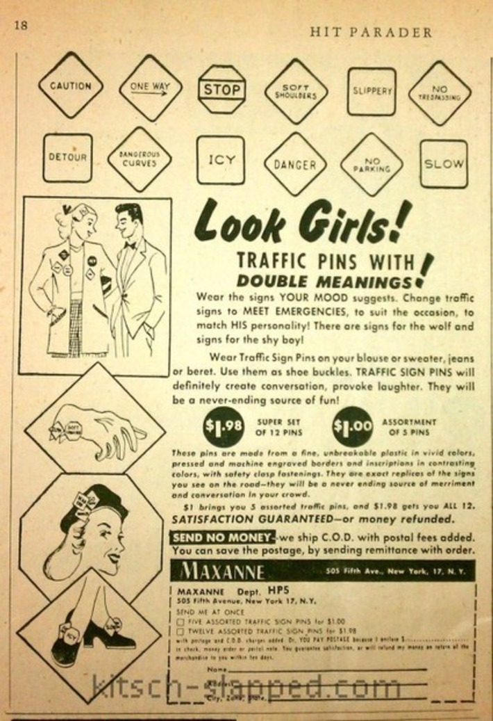 """Look Girls! Traffic Pins With Double Meanings!"" 