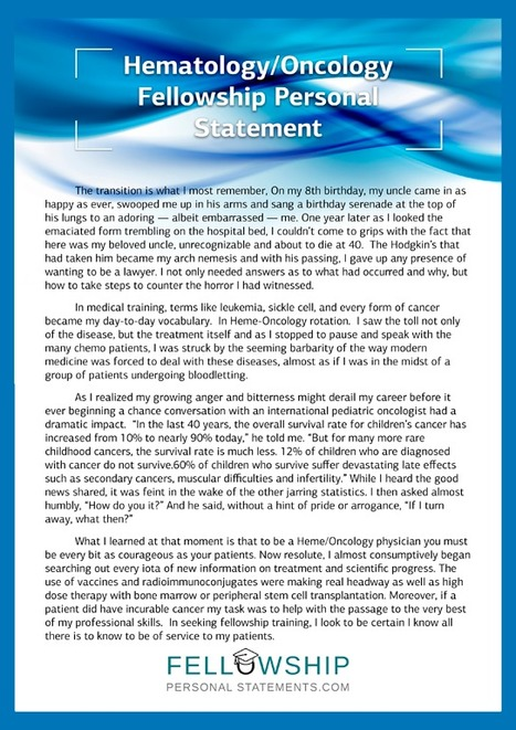Oncology Fellowship Personal Statement Sample