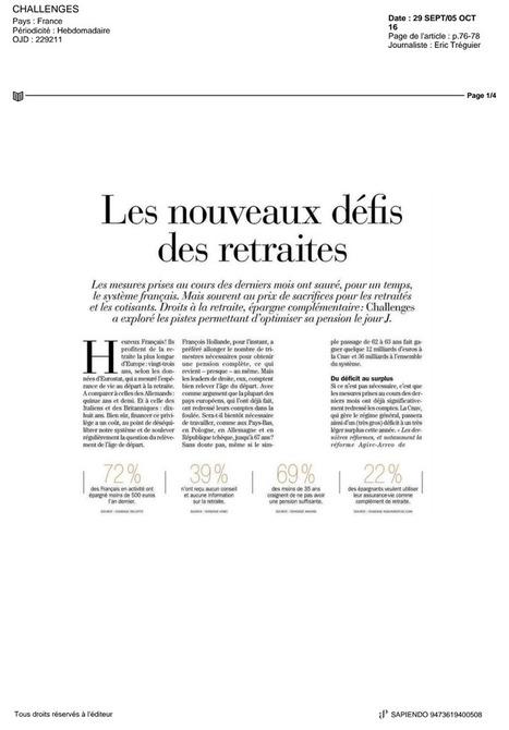 CHALLENGES : 29/09/16 - Les nouveaux défis des retraites | Sapiendo Retraite : Actualités | Scoop.it