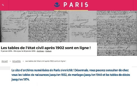 AD 75 : État civil de Paris en ligne après 1902   Charentonneau   Scoop.it