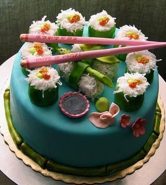 Astounding Sushi Birthday Cake In Nice Birthday Cake Ideas Scoop It Personalised Birthday Cards Veneteletsinfo