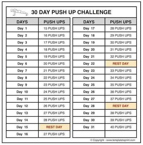 Push up Challenge Calendar Chart | Push up Work