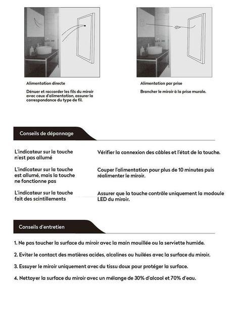Miroir Salle De Bain Lumineux LED Rectangulaire Bord En Acier Dor Accommod Zamba