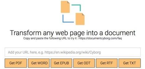 Document Cyborg : cet outil génial pour convertir les pages web pour la lecture, l'écriture, l'impression | François MAGNAN  Formateur Consultant | Scoop.it