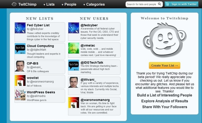 The Ultimate Twitter List Curation Tool: TwitChimp | Machinimania | Scoop.it