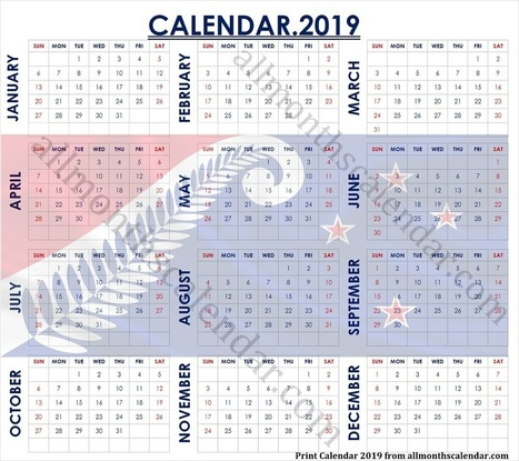 Year Calendar 2019 Nz With Holidays Free 2019