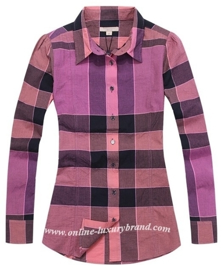 burberry coat outlet valv  Burberry Women Nova Check Shirt Voilet [B006365]