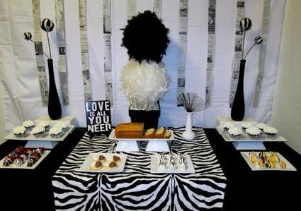 Elegant Dessert Buffet Table Decor Ideas | Black And White Party