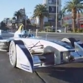 """Watch the Electric Racer of the Future Drive the Vegas Strip 