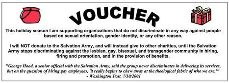 Donnez à l'Armée du Salut des bons pour bigots anti-gay | aquarium | Scoop.it