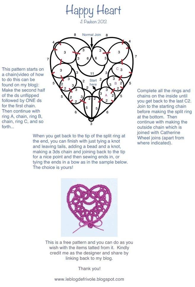 Happy Heart Tatting Pattern Needle And Hook P