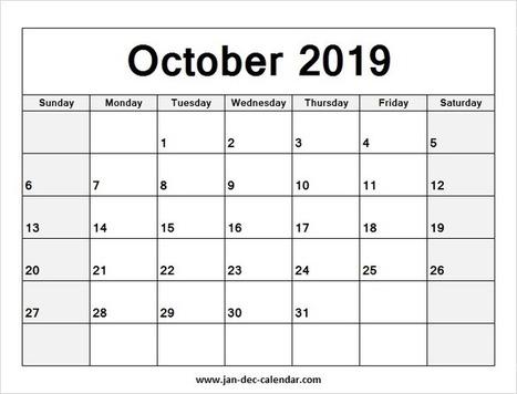 Blank Printable October Calendar 2019 Temp