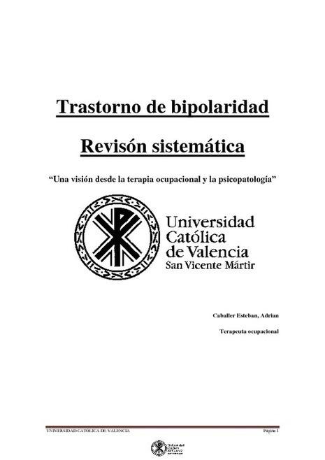 Trastorno de bipolaridad , una vision desde la terapia ocupacional y la psicopatologia Bipolar Disorder a view from occupational therapy and psychopathology - PDF | Psicopatologia - Psychopathology | Scoop.it